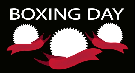 boxing day: Tree Blank of Round Labels and Red Ribbons on Boxing Day Background with Copy Space and Text Decorated, Sign for Start Christmas Shopping Season.