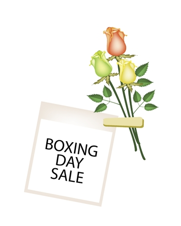 boxing day: Boxing Day Shopping Banner Instant Photo Prints with Roses Clothespins, Sign for Start Christmas Shopping Season. Illustration