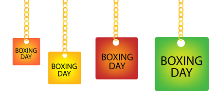 boxing day special: Collection of Boxing Day Square Tag Holding on A Golden Chain in Four Assorted Colours, Orange, Yellow, Red and Green