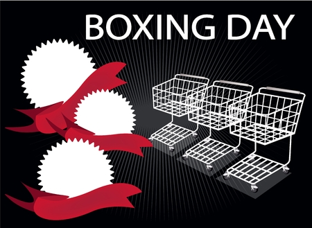 boxing day: Three Shopping Carts and Three Round Label on Boxing Day Background with Copy Space and Text Decorated, Sign for Start Christmas Shopping Season. Illustration