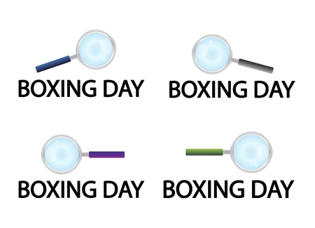 boxing day: Magnifying Glass Searching Product on Boxing Day Best Buy Deal, Sign for Start Christmas Shopping Season.