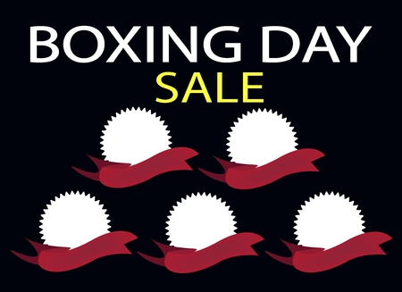 boxing day sale: Blank of Round Labels and Red Ribbons on Black Friday Background with Copy Space and Text Decorated, Sign for Start Christmas Shopping Season.