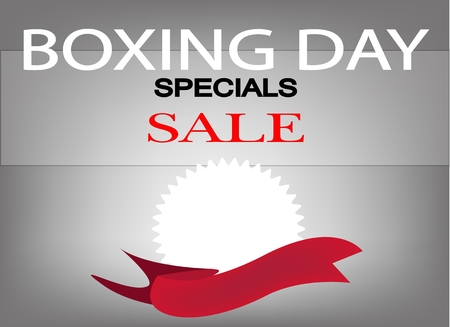 boxing day sale: Beautiful Background of Colorful Wording of Boxing Day Special Sale and Blank Round Labels with Copy Space and Text Decorated, Sign for Start Christmas Shopping Season. Illustration