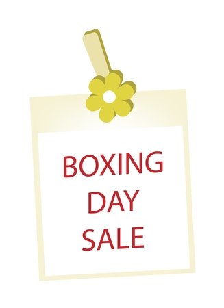 boxing day: Boxing Day Shopping Banner of Instant Photo Prints Hanging on Yellow Flower Clothespins, Sign for Start Christmas Shopping Season.