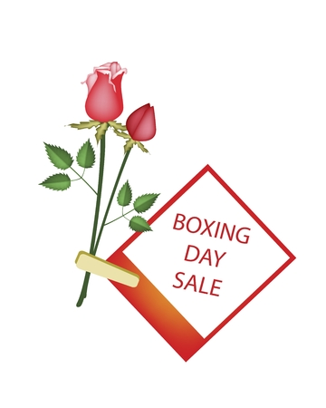 boxing day special: Boxing Day Shopping Banner Instant Photo Prints with Red Roses Clothespins, Sign for Start Christmas Shopping Season.