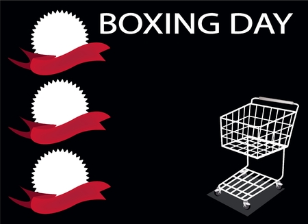 boxing day sale: Shopping Cart and Round Label on Boxing Day Background with Copy Space and Text Decorated, Sign for Start Christmas Shopping Season.