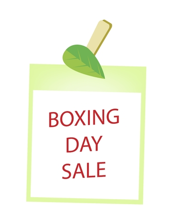 boxing day special: Boxing Day Shopping Banner of Instant Photo Prints Hanging on Green Leaf Clothespins, Sign for Start Christmas Shopping Season.