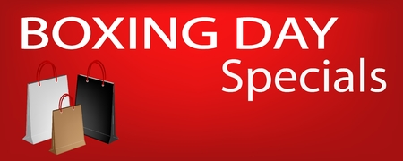 boxing day: Boxing Day Special on Red Banner with Paper Shopping Bags, Sign for Start Christmas Shopping Season.