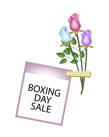 boxing day special: Boxing Day Shopping Banner Instant Photo Prints with Three Roses Clothespins, Sign for Start Christmas Shopping Season.