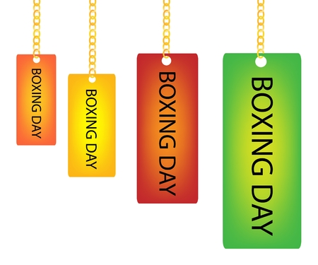 boxing day: Collection of Boxing Day Rectangle Tag Holding on A Golden Chain in Four Assorted Colours, Orange, Yellow, Red and Green Illustration