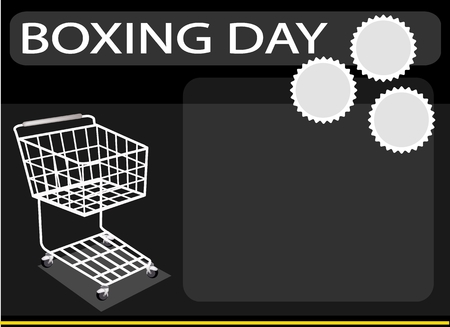 boxing day special: Shopping Cart on Boxing Day Background with Copy Space and Text Decorated, Sign for Start Christmas Shopping Season.