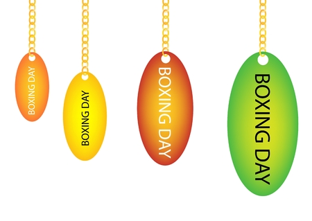boxing day: Collection of Boxing Day Oval Tag Holding on A Golden Chain in Four Assorted Colours, Orange, Yellow, Red and Green Illustration
