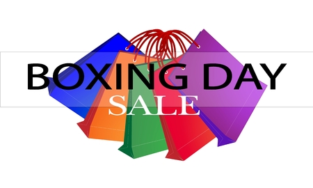 boxing day: Boxing Day Special Label with Paper Shopping Bags, Sign for Start Christmas Shopping Season.
