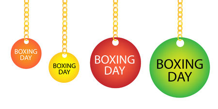 boxing day: Collection of Boxing Day Round Tag Holding on A Golden Chain in Four Assorted Colours, Orange, Yellow, Red and Green