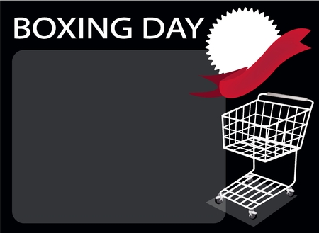 boxing day special: Shopping Cart and Blank Round Label on Boxing Day Background with Copy Space and Text Decorated, Sign for Start Christmas Shopping Season. Illustration