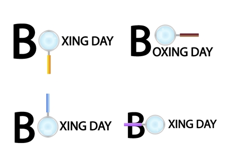 boxing day: Magnifying Glass Searching Product on Boxing Day Best Buy Deal, Sign for Christmas Shopping Season.