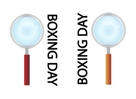 boxing day special: Magnifying Glass Searching Cheap Product on Boxing Day Best Buy Deal, Sign for Start Christmas Shopping Season.