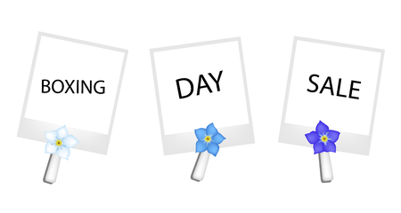 forget me not: Boxing Day Shopping Banner Instant Photo Prints with Forget Me Not Clothespins, Sign for Start Christmas Shopping Season. Illustration