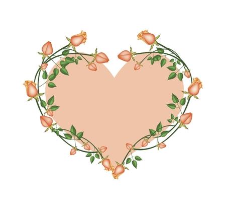 orange roses: Love Concept, Illustration of Orange Roses Forming in Heart Shape with Orange Background.