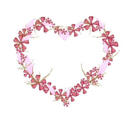 Love Concept, Illustration of Red Geranium Flowers with Pink Equiphyllum Flowers Forming in Heart Shape Isolated on White Background.