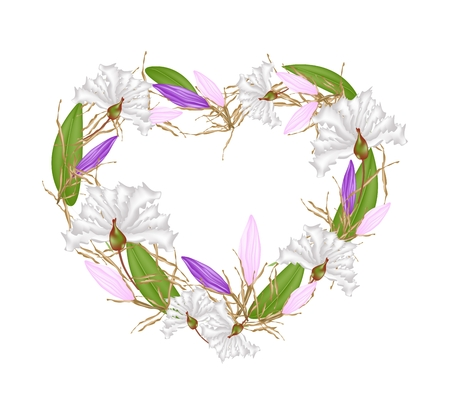 myrtle: Love Concept, Illustration of White Crape Myrtle Flowers and Equiphyllum Flowers Forming in Heart Shape Isolated on White Background.