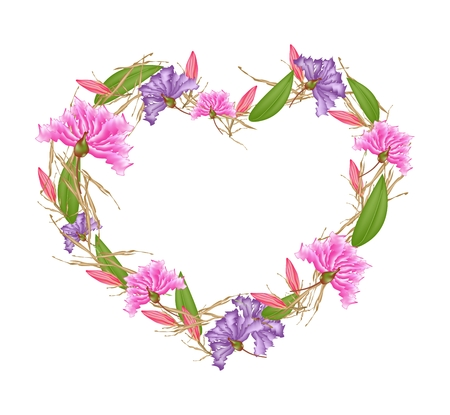 myrtle: Love Concept, Illustration of Pink and Purple Crape Myrtle Flowers with Pink Equiphyllum Flowers Forming in Heart Shape Isolated on White Background. Illustration