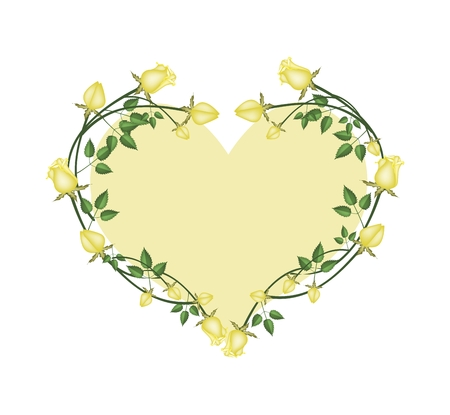yellow roses: Love Concept, Illustration of Yellow Roses Forming in Heart Shape with Yellow Background. Illustration