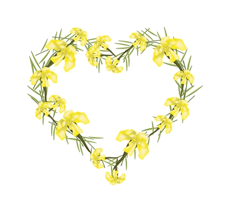indica: Love Concept, Illustration of Yellow Crape Myrtle Flowers or Lagerstroemia Indica Flowers Forming in Heart Shape Isolated on White Background.