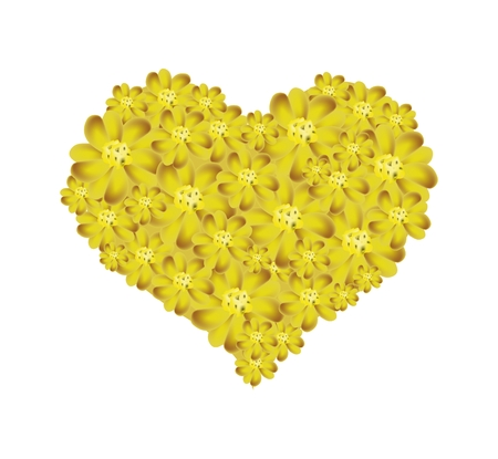 millefolium: Love Concept, Illustration of Yellow Yarrow Flowers or Achillea Millefolium Flowers Forming in A Heart Shape Isolated on White Background.