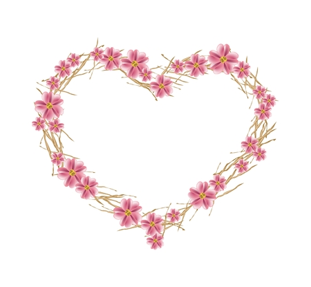 asteraceae: Love Concept, Illustration of Old Rose Yarrow Flowers or Achillea Millefolium Flowers Forming in A Heart Shape Isolated on White Background.