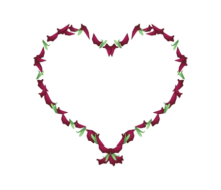 roses petals: Love Concept, Illustration of Red Roses Petals Forming in Heart Shape Isolated on White Background. Illustration