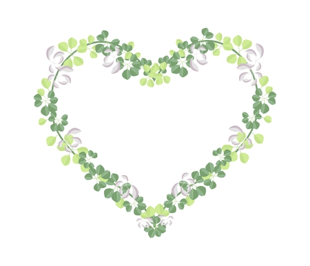 creeping plant: Love Concept, Illustration of Heart Shape Frame Made of Fresh Pink and Green Vine Leaves Isolated on A White Background.