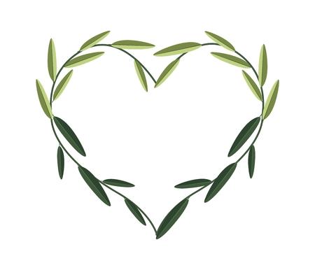 vine leaves: Love Concept, Illustration of Heart Frame Made of Fresh Green Vine Leaves Isolated on A White Background.