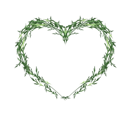 Love Concept, Illustration of Green Leaves Forming in Beautiful Heart Shape Isolated on White Background.
