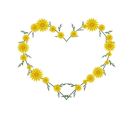 florescence: Love Concept, Illustration of Fresh Yellow Daisy Flowers Forming in Heart Shape Isolated on White Background. Illustration