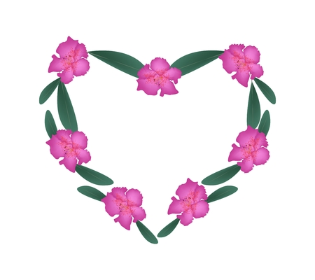 azalea: Love Concept, Illustration of Pink Rhododendron Flowers Forming in Heart Shape Frame Isolated on White Background.