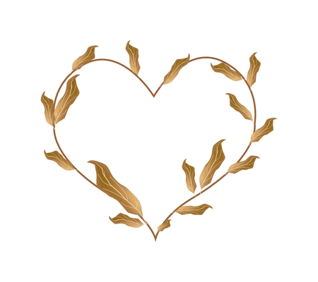 dried: Love Concept, Illustration of Dried Brown  Leaves Forming in A Beautiful Heart Shape Isolated on White Background.