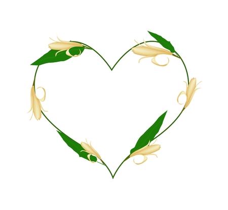 silhouette fleur: Amour, Illustration de jaune Michelia Alba Fleurs ou Michelia Champaca Fleurs Formant dans une forme de coeur isolé sur fond blanc. Illustration