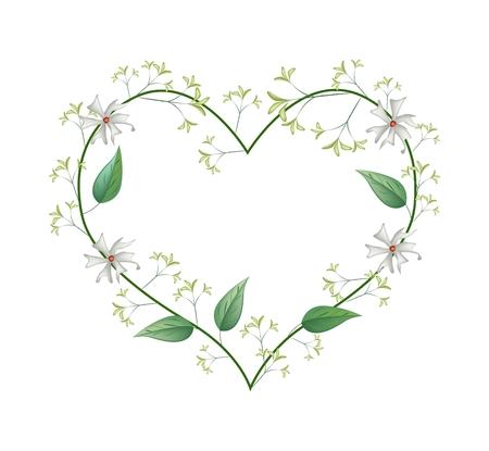 Liefde Concept, illustratie van witte bloemen tuberoos of 's nachts bloeiende jasmijn vormen in hartvorm die op een witte achtergrond.