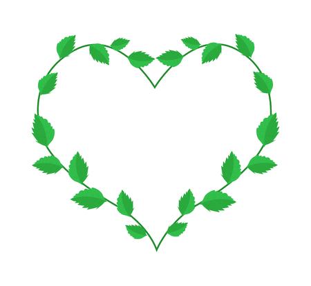 vine leaves: Love Concept, Illustration of Heart Shape Wreath Made of Green Vine Leaves Isolated on White Background.
