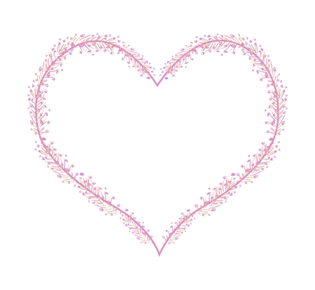 rosemallow: Love Concept, Illustration of Pink Abstract Flowers Forming in Heart Shape Isolated on White Background.