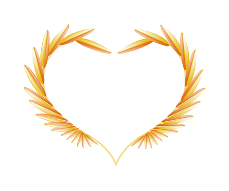 golde: Love Concept, Illustration of Golde Leaves Forming in Heart Shape Isolated on White Background. Illustration