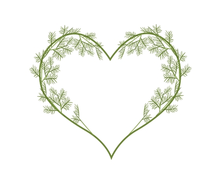 leafy: Love Concept, Illustration of A Heart Shape Frame Made of Leafy Vine Leaves Isolated on White Background.