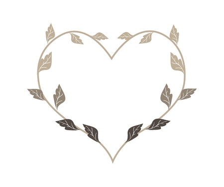 dry leaves: Love Concept, Illustration of Dry Leaves Forming in Heart Shape Wreath Isolated on White Background.