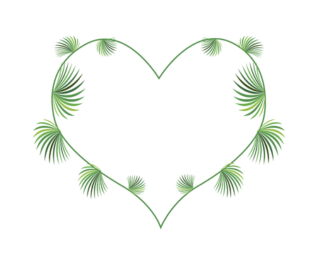 palm wreath: Love Concept, Illustration of Lady Palm Leaves or Rhapis Palm Leaves Forming in Heart Shape Isolated on White Background. Illustration