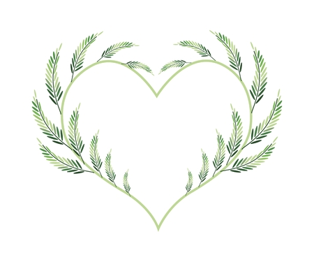 leafy: Love Concept, Illustration of Heart Shape Frame Made of Fresh Leafy Leaves Isolated on White Background.