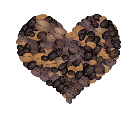 black gram: Love Concept, Various Colors of Roasted Coffee Beans Forming in A Heart Shape Isolated on A White Background Illustration
