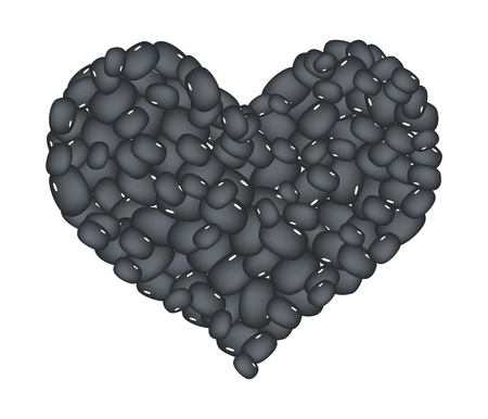 germinate: Love Concept, Stack of Black Bean Forming in A Heart Shape Isolated on A White Background Illustration