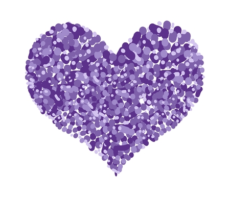 Love Concept, Assorted Purple Circle Forming in A Heart Shape Isolated on White Background