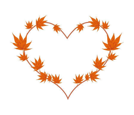 maple tree: Love Concept, Illustration of Orange Maple Leaves Forming in Heart Shape Isolated on White Background.